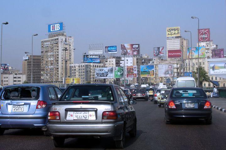 cairo   may 03 heavy traffic in ...