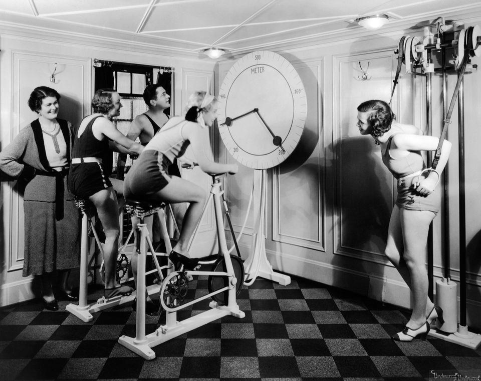"The progenitor of the exercise bike, the ""gymnasticon"" <a href=""""http://www.ncbi.nlm.nih.gov/pmc/articles/PMC1043941/pdf/medh"