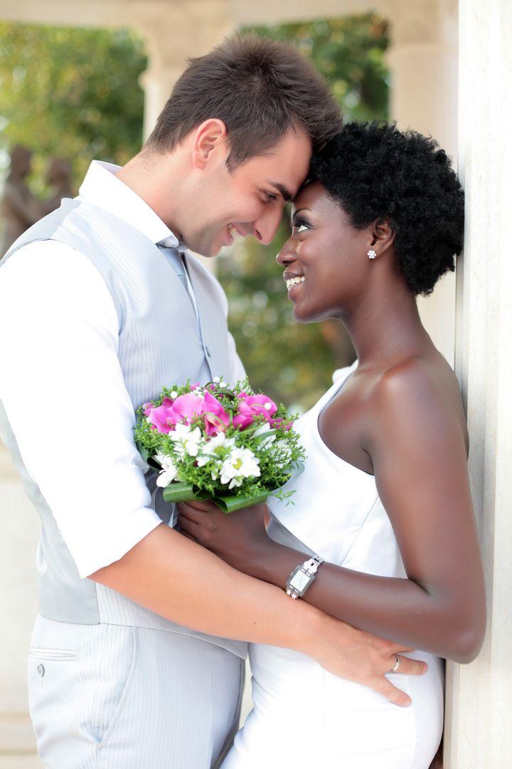 multiracial wedding couple...