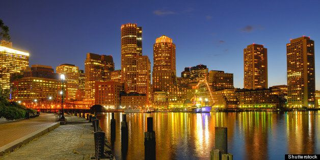 boston harbor and cityscape at...
