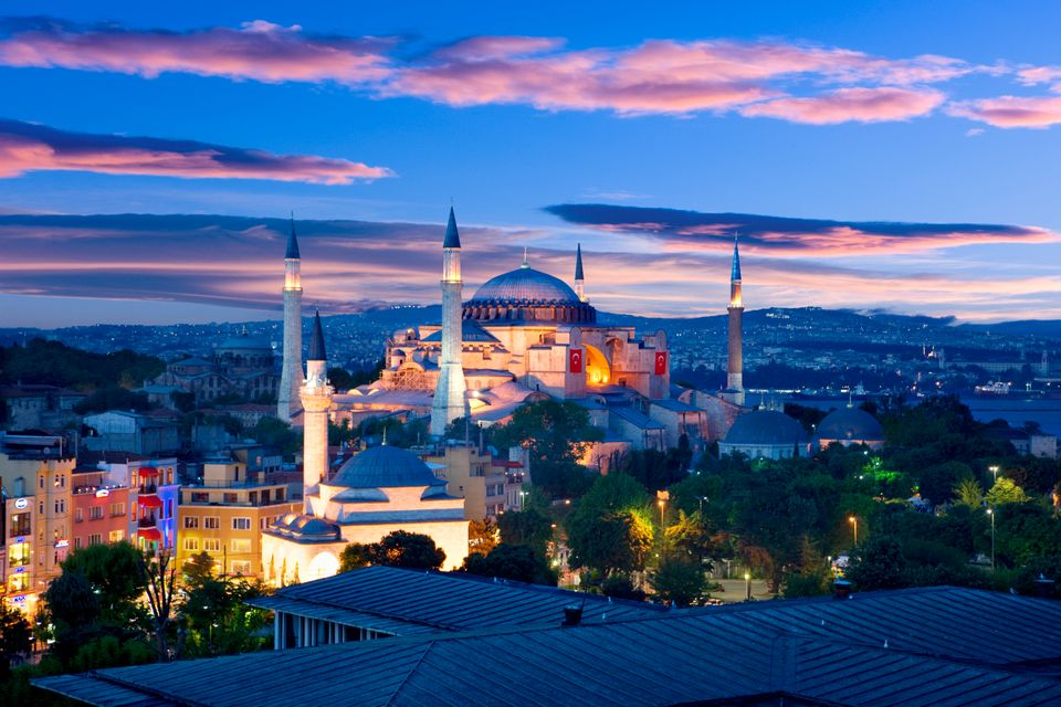 Hagia Sophia at night.      (Correction: A previous version of this slide mistakenly labeled the Hagia Sophia as being a mosq