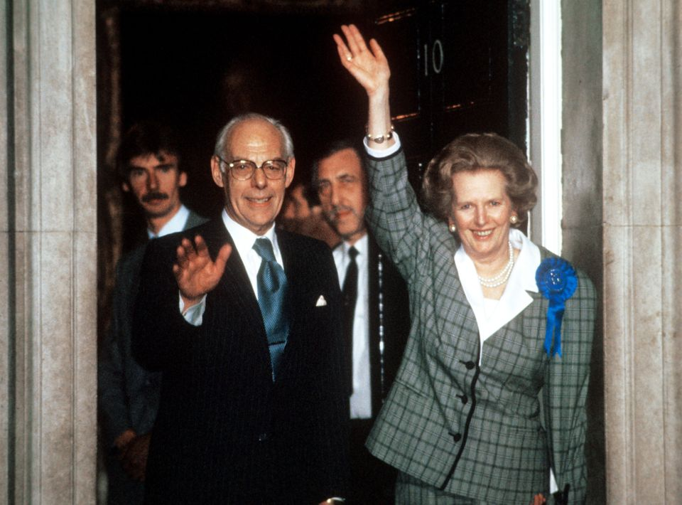 Prime Minister Margaret Thatcher leaving 10 Downing Street after the Conservative Party won a convincing majority in the Gene