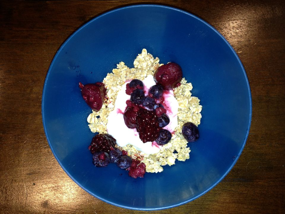 """Typically non-fat yogurt, mixed with low-fat granola and mixed berries for breakfast.""  <em>-- <a href=""https://twitter.com/"