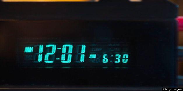 Close-up of digital alarm clock