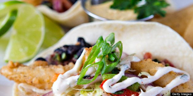 Fish tacos prepared with all fresh ingredients for lunch or dinner.