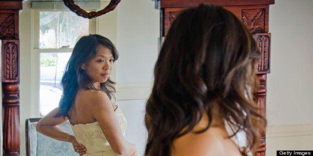 dressmaker's shop, evaluating a wedding dress