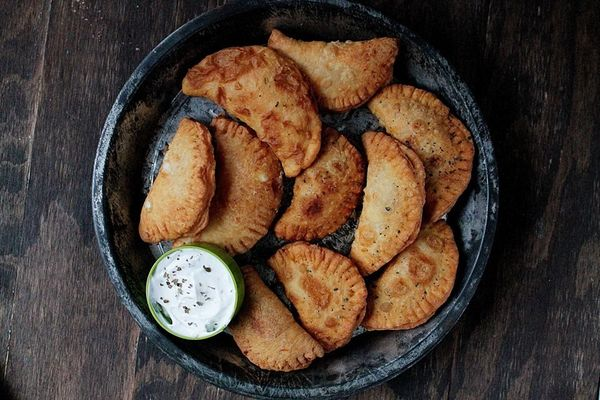 """<strong>Get the <a href=""""http://diethood.com/2013/02/24/pierogies-with-spicy-feta-filling/"""" target=""""_blank"""">Pierogies With Sp"""