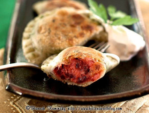 "<strong>Get the <a href=""http://bittersweetblog.com/2012/02/10/heart-beets/"" target=""_blank"">Blushing Beet Pierogi recipe</a>"