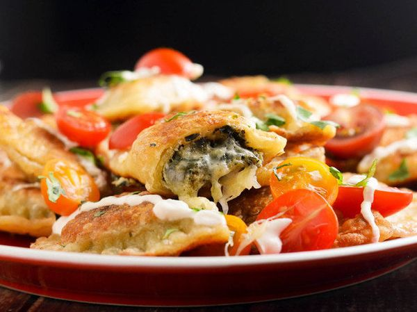 "<strong>Get the <a href=""http://www.seriouseats.com/recipes/2015/03/how-to-make-spinach-artichoke-dip-pierogi-dumplings-recip"