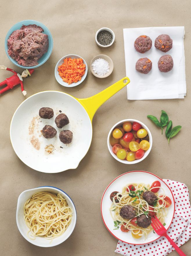 """<em>""""I love making meatballs with my kids, I let them roll them out. They feel good knowing they had a part in the dinner."""" -"""