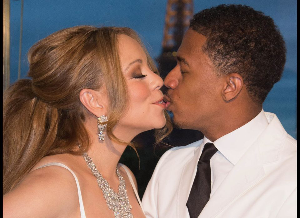 PARIS, FRANCE - APRIL 27:  Mariah Carey and her husband Nick Cannon during the their vows renewal ceremony, photocall on Apri