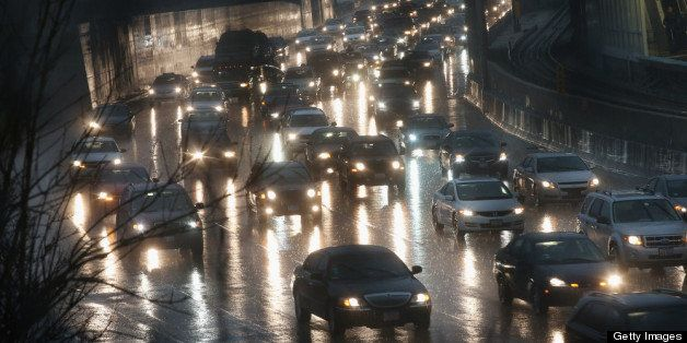 CHICAGO, IL - APRIL 18:  Traffic backs up near a flooded section of the Kennedy Expressway on April 18, 2013 in Chicago, Illi