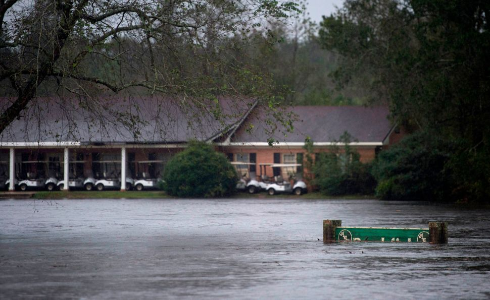 Flood waters cover a golf club near Wallace, North Carolina.