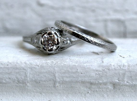 """A vintage engagement set like this is an amazing find; check estate sales or shop online for pieces like these.   <a href=""""ht"""