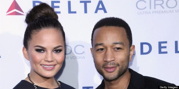 NEW YORK, NY - MAY 01:  Chrissy Teigen, and John Legend attend as Delta Air Lines celebrate the opening night of T4X, a pop u
