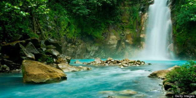 Blue River is main attraction in forest turquoise waters.