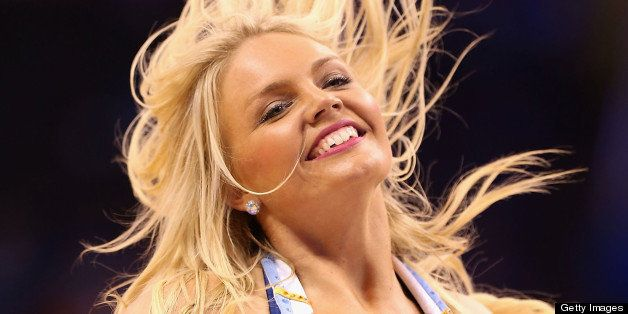 OKLAHOMA CITY, OK - APRIL 21:  Oklahoma City Thunder cheerleader, Kelsey Williams, performs during Game One of the Western Conference Quarterfinals of the 2013 NBA Playoffs against the Houston Rockets at Chesapeake Energy Arena on April 21, 2013 in Oklahoma City, Oklahoma. NOTE TO USER: User expressly acknowledges and agrees that, by downloading and or using this photograph, User is consenting to the terms and conditions of the Getty Images License Agreement.  (Photo by Christian Petersen/Getty Images)