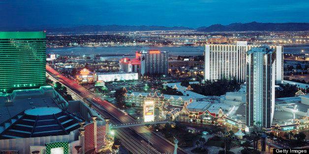 USA, Nevada, Las Vegas, view from hotel room of Vegas Strip, dusk