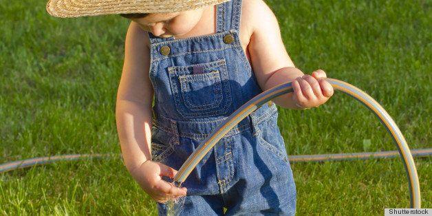little baby boy gardener...