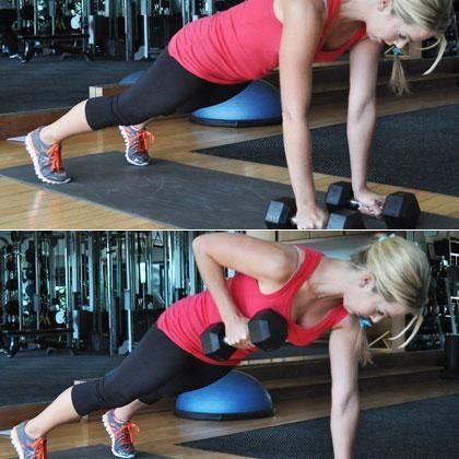 <strong>Reps:</strong> 8 per side  Place a set of 10- to 20-pound dumbbells on the floor and get into pushup position with sh