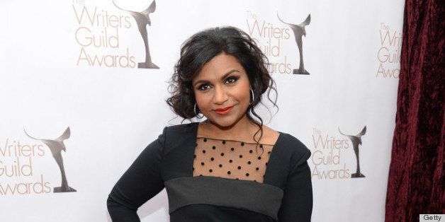 LOS ANGELES, CA - FEBRUARY 17:  Actress Mindy Kaling arrives at the 2013 WGAw Writers Guild Awards at JW Marriott Los Angeles