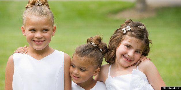 three girls at a wedding
