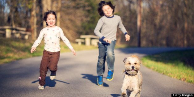 A young boy and girl enjoy chasing their pet dog down the road