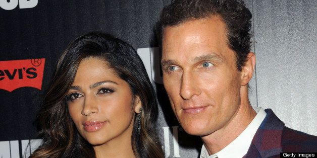 NEW YORK, NY - APRIL 21:  Actress Camila Alves and Actor Matthew McConaughey attend The Cinema Society Screening Of 'Mud' hos