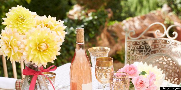 Table set for wedding reception outdoors