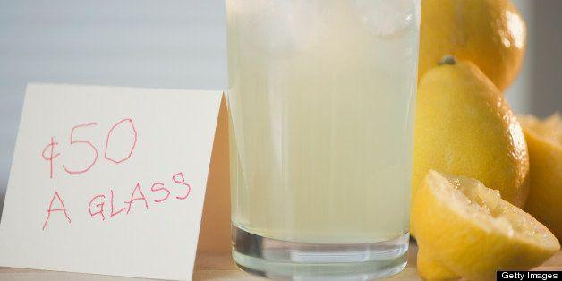 Homemade lemonade and price tag