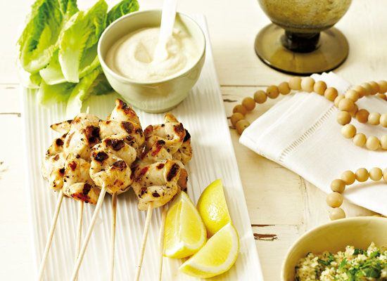 """<strong>Get the <a href=""""http://www.huffingtonpost.com/2011/10/27/grilled-chicken-skewers-w_n_1057619.html"""" target=""""_blank"""">G"""