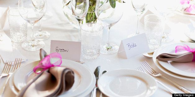Close up of place setting at wedding reception