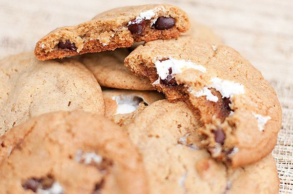 "<strong>Get the <a href=""http://www.bunsinmyoven.com/2011/05/11/smores-cookies/"" target=""_blank"">S'mores Cookies recipe</a> b"