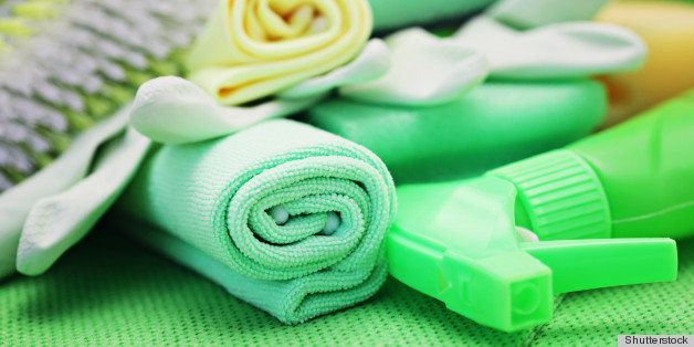 all you need to clean house - close-ups of cleaning supplies