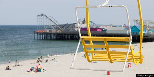 Chair lift and beach at seaside heights, new jersey