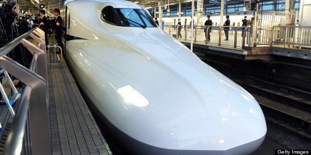 OSAKA, JAPAN - FEBRUARY 08:  (CHINA OUT, SOUTH KOREA OUT) New Tokaido Shinkansen bullet train N700A is seen at Shin Osaka Station on February 8, 2013 in Osaka, Japan. The new train, boasting an automated speed control system and a host of passenger-friendly features, makes its commercial debut.  (Photo by The Asahi Shimbun via Getty Images)