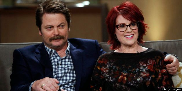 KATHY -- Episode 210  -- Pictured: (l-r) Nick Offerman, Megan Mullally -- (Photo by: Ben Cohen/Bravo/NBCU Photo Bank via Getty Images)