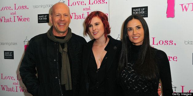 NEW YORK, NY - MARCH 24:  Bruce Willis, Rumer Willis and Demi Moore attend 'Love, Loss & What I Wore' new cast member celebration at B Smith's Restaurant on March 24, 2011 in New York City.  (Photo by Brian Killian/WireImage)
