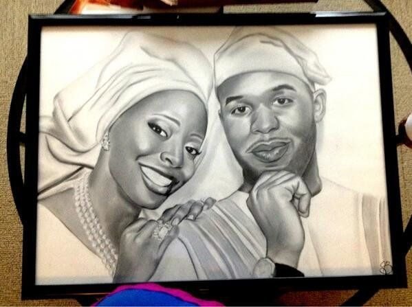 "@AislePerfect: ""Someone gave us a pencil/charcoal drawing of one of our  traditional wedding pictures (we're Nigerian) it was"