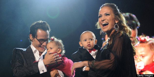 (EXCLUSIVE, Premium Rates Apply) NEW YORK - FEBRUARY 14:  *EXCLUSIVE* Marc Anthony, Jennifer Lopez and their kids Max and Emme on stage before he performs Valentine's Day show at Madison Square Garden on February 14, 2009 in New York City.  (Photo by Kevin Mazur/WireImage)