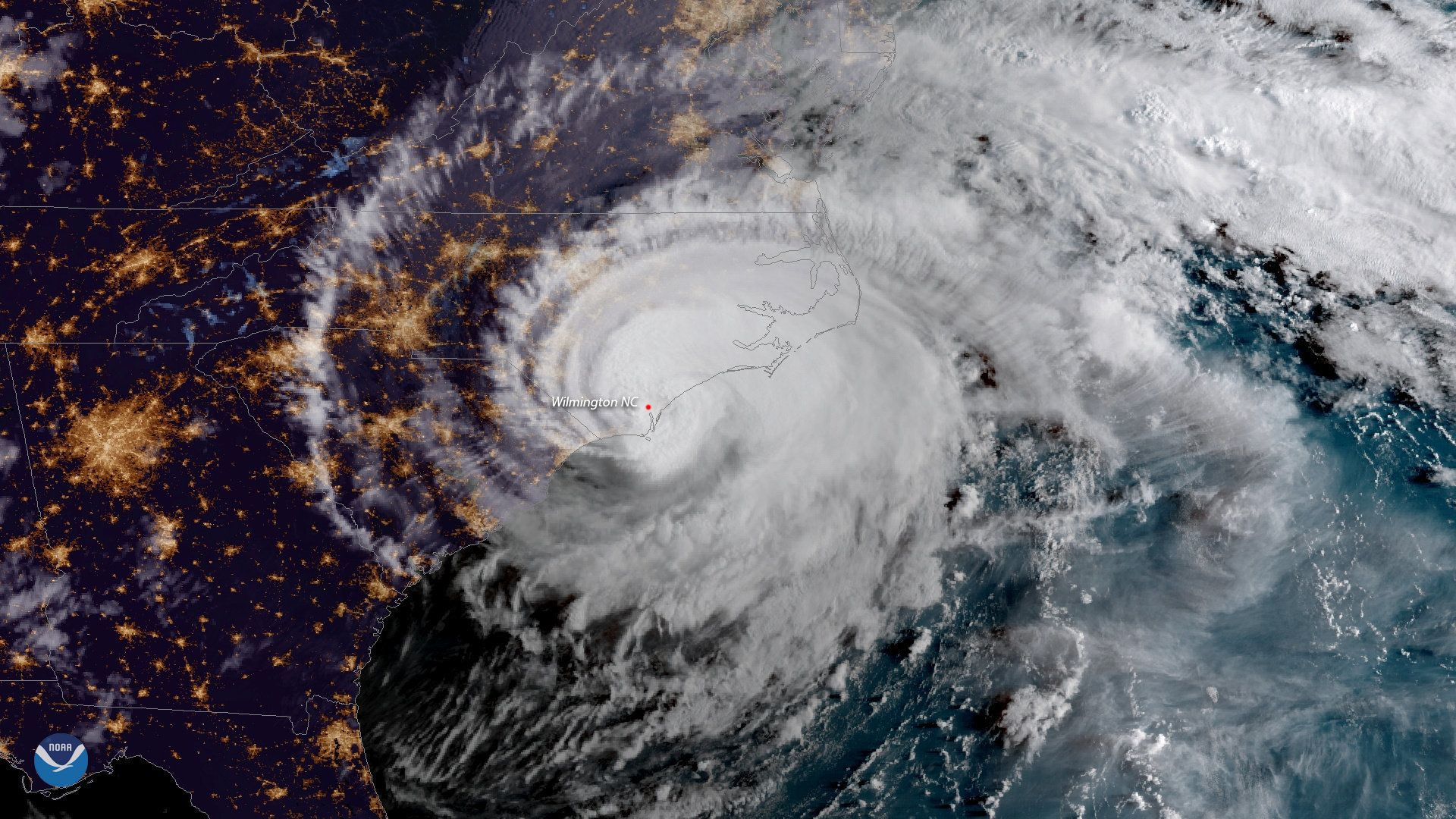 Hurricane Florence is shown from a National Oceanic and Atmospheric Administration (NOAA) #GOESEast satellite shortly after the storm made landfall near Wrightsville Beach, North Carolina, U.S., September 14, 2018.  NOAA/Handout via REUTERS   ATTENTION EDITORS - THIS IMAGE WAS PROVIDED BY A THIRD PARTY