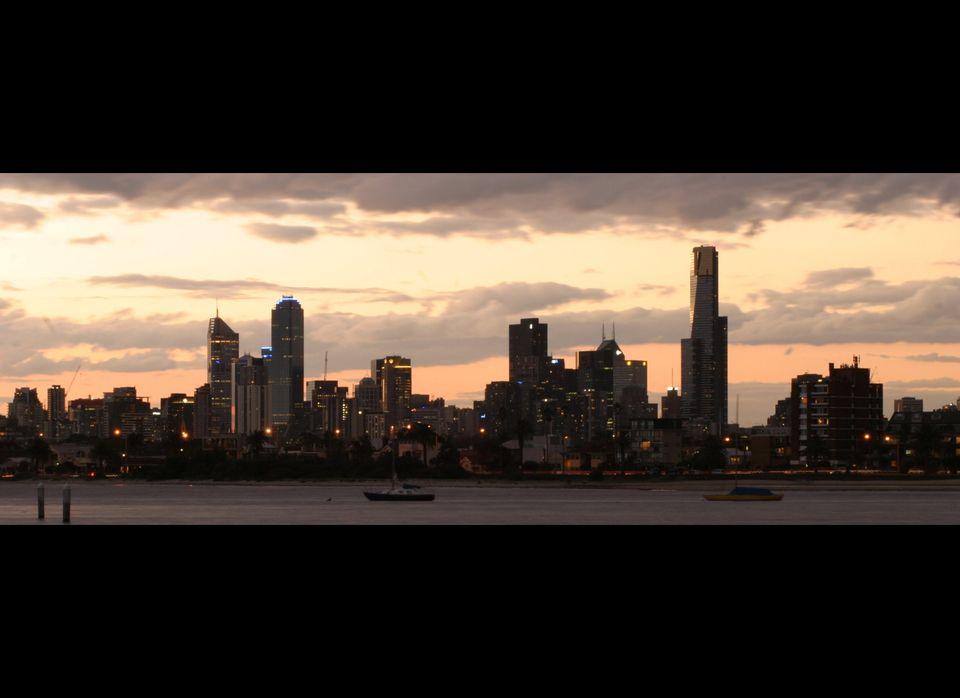 The skyline of Melbourne across Port Phillip Bay.