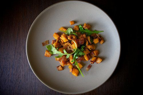 """<strong>Get the <a href=""""http://food52.com/recipes/14515-brown-butter-roasted-sweet-potatoes-with-arugula-and-bacon"""" target="""""""