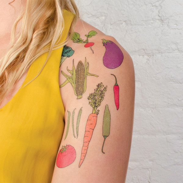 """<strong><a href=""""http://tattly.com/products/vegetable-set"""" target=""""_blank"""">Vegetable Tattoo Set</a>, $15.00 on Tattly</strong"""