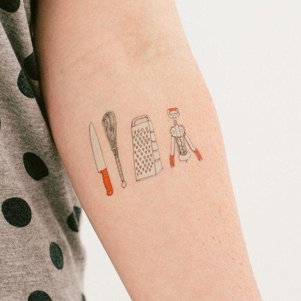 "<strong><a href=""http://tattly.com/products/kitchen-utensils"" target=""_blank"">Kitchen Utensils Tattoo Set</a>, $5.00 on Tattl"