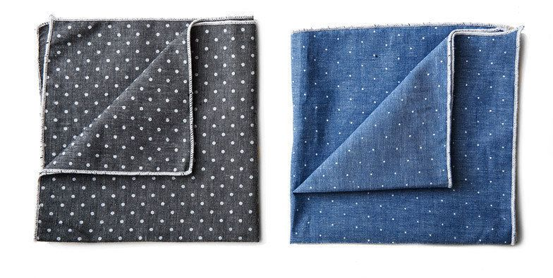 "Japanese Chambray Pocket Squares (handmade in Brooklyn) | $17.95 each, <a href=""http://store.kaufmann-mercantile.com/collecti"