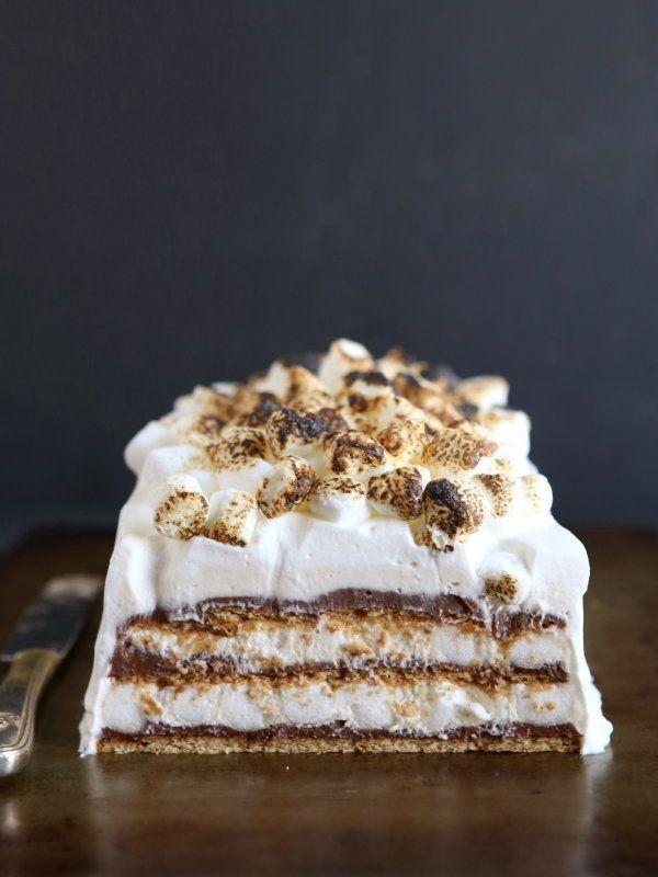 """<strong>Get the <a href=""""http://www.completelydelicious.com/2014/06/smores-no-bake-icebox-cake.html"""" target=""""_blank"""">S'mores"""