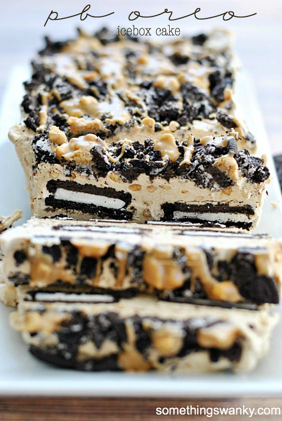 """<strong>Get the <a href=""""http://www.somethingswanky.com/peanut-butter-oreo-icebox-cake/"""" target=""""_blank"""">Peanut Butter Oreo I"""
