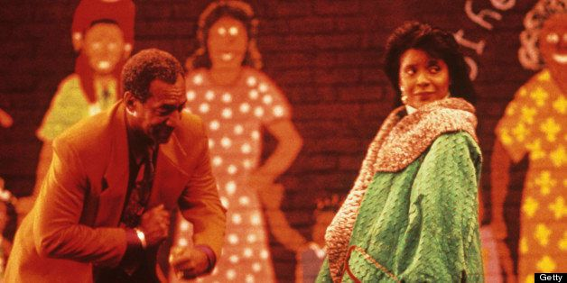 NEW YORK, NEW YORK - AUGUST, 1990: Bill Cosby and Phylicia Rashad (who plays Clair Huxtable) film the new opening sequence fo