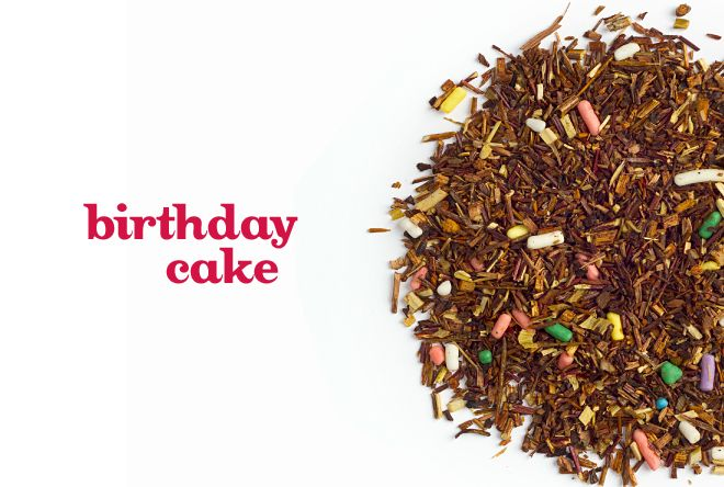 "It's a <a href=""http://www.davidstea.com/birthday-cake?&currid=usd&LN=EN"" target=""_blank"">rooibos</a> blend, if you're curiou"